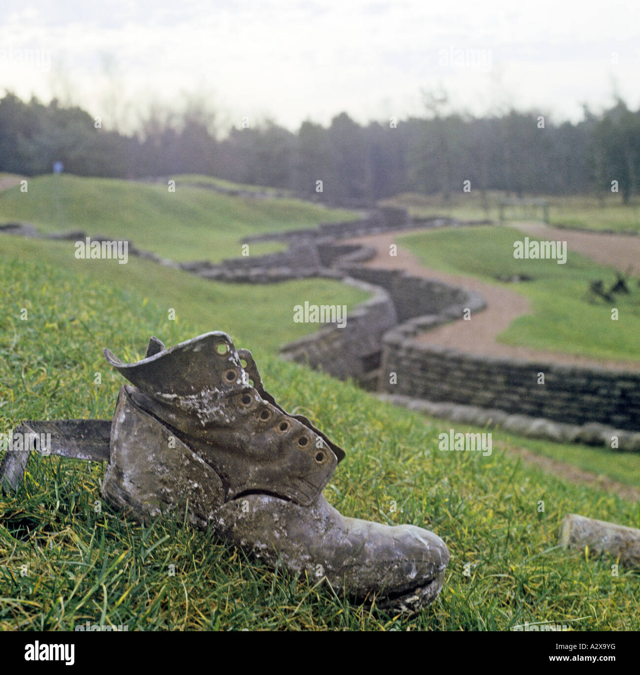 Vimy Ridge nrArras in France is where11000  Canadians were killed or wounded. The trenches havebeen preserved anda - Stock Image
