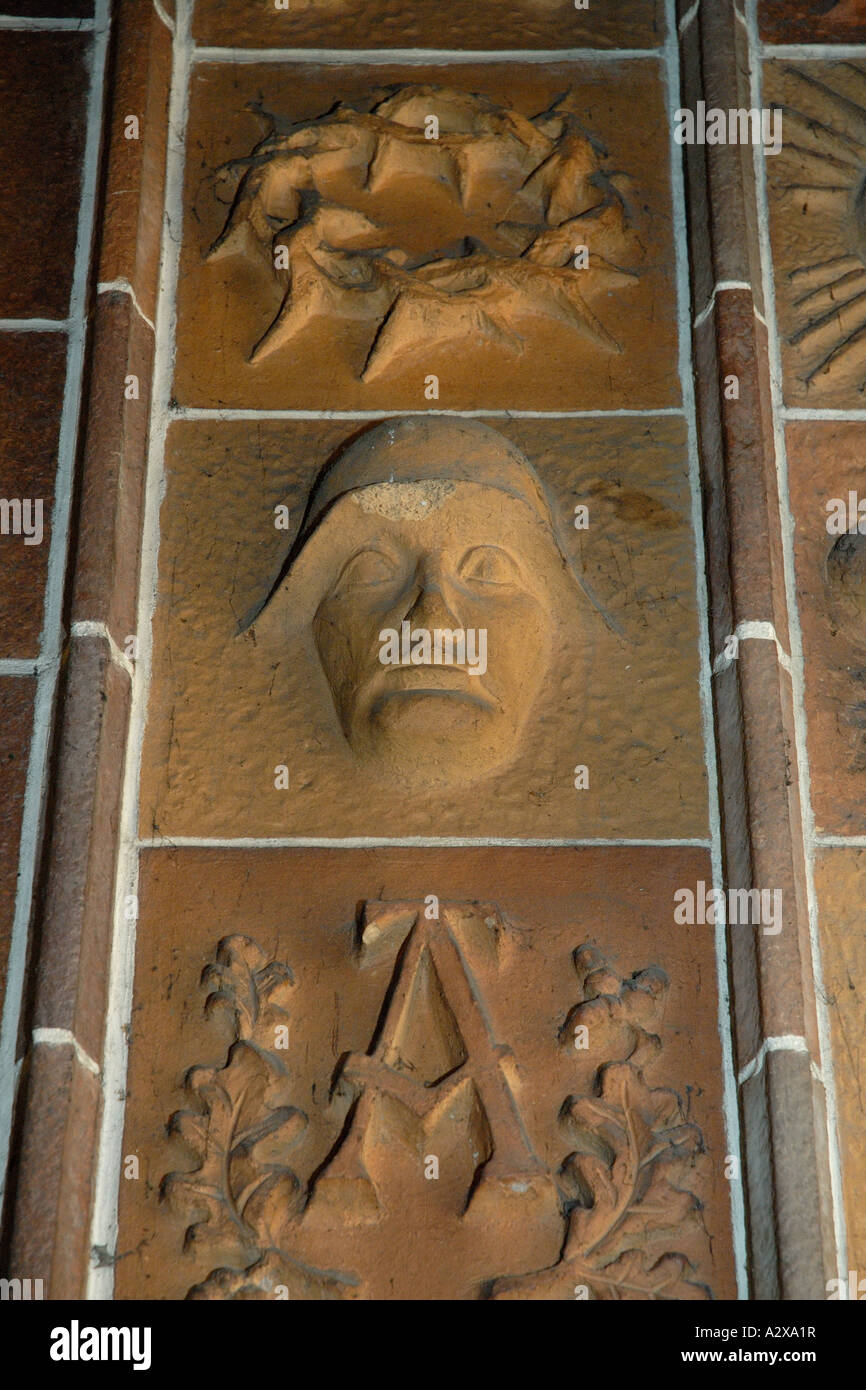 Head of German Nazi era soldier carved into wall of Berlin church - Stock Image