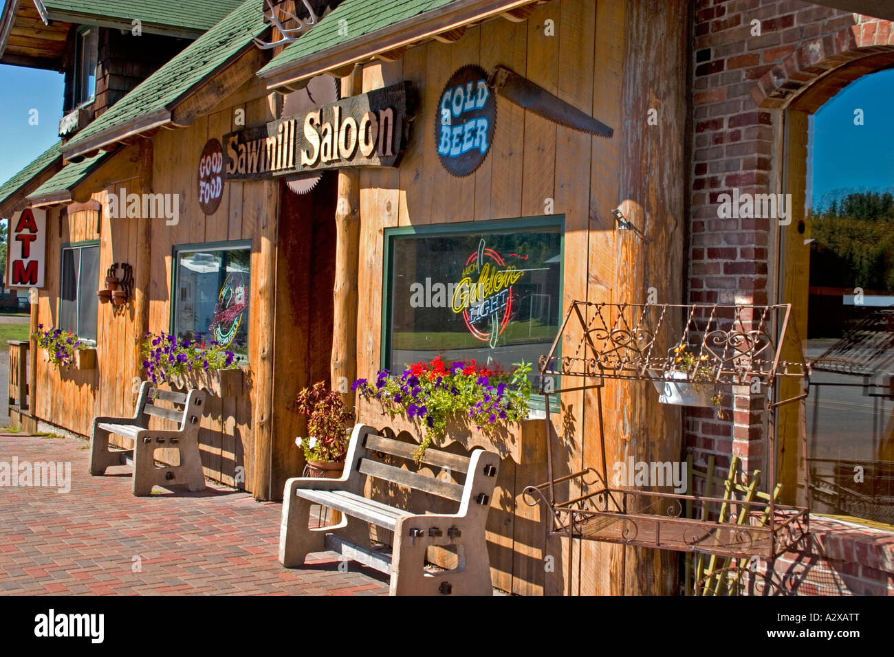 Sawmill Saloon where they have Martini hour every Friday night and waiting for Kurt Russell to show up. Seeley Wisconsin - Stock Image