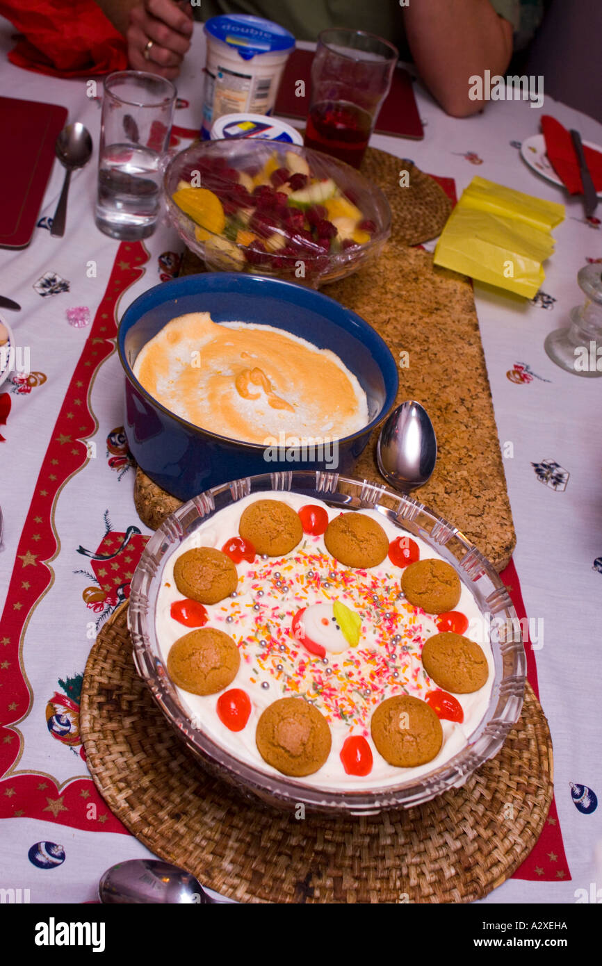 Upavon Wiltshire England Christmas Dinner Lunch Trifle Pudding Desert