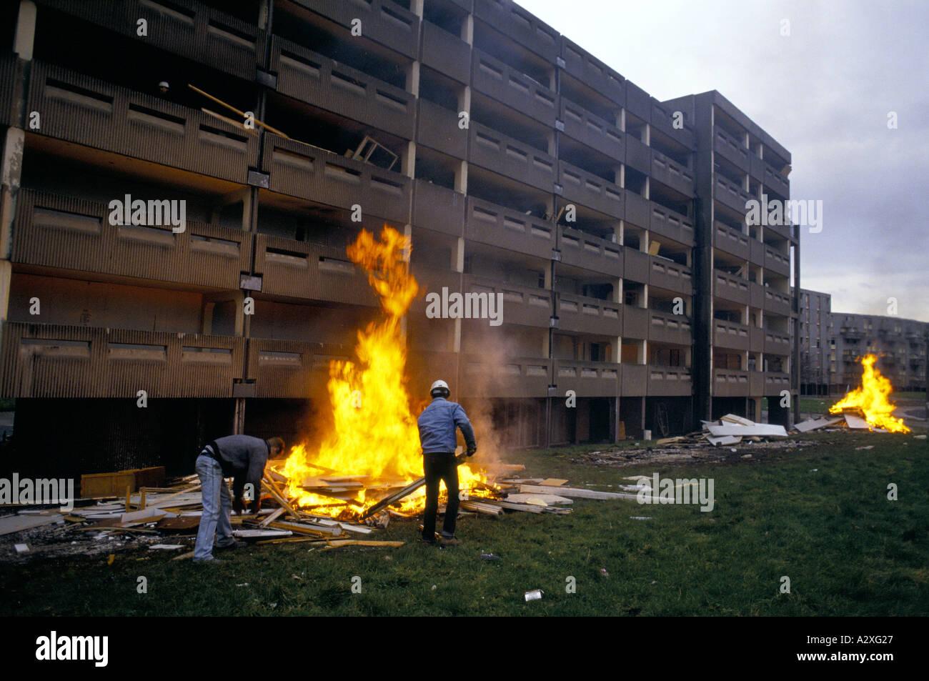 HULME CRESCENT ESTATE BEING DEMOLISHED,MANCHESTER,1993 - Stock Image