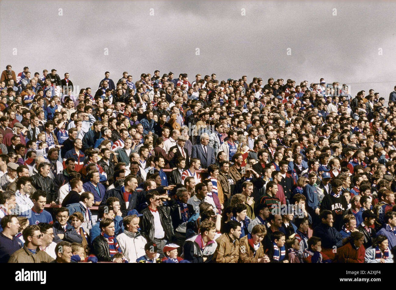football supporters scotland rangers vs partick thistle glasgow 1992 - Stock Image