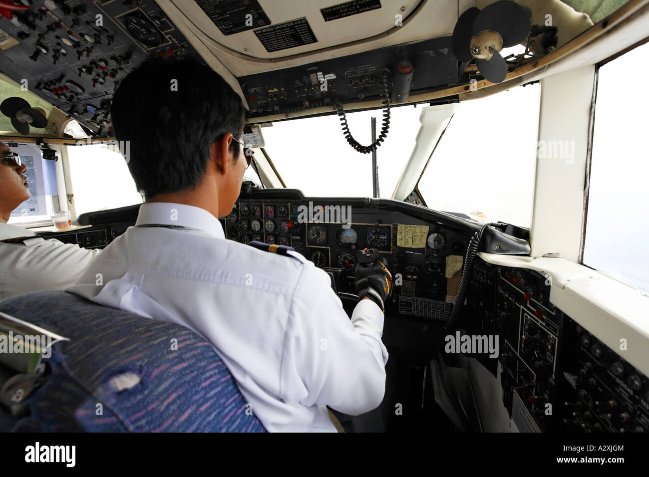 Cockpit of turbo-prop airplane - Stock Image