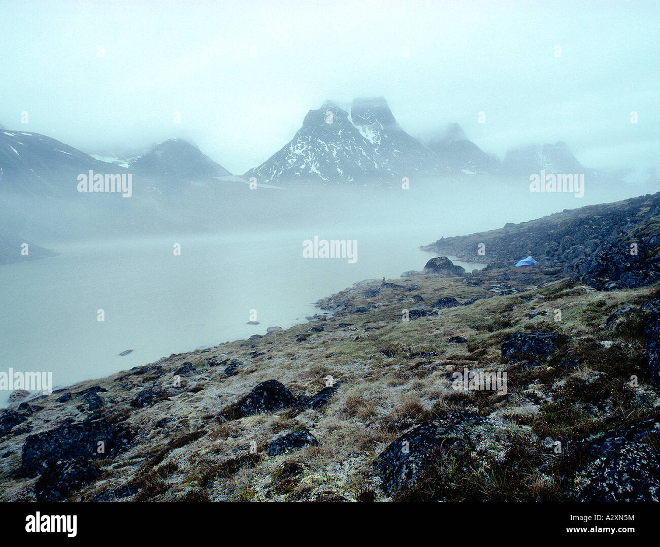 Canadian Arctic, Auyuittuq National Park: Camping Tent At End Of Summit Lake, Baffin Island, Nunavut, - Stock Image