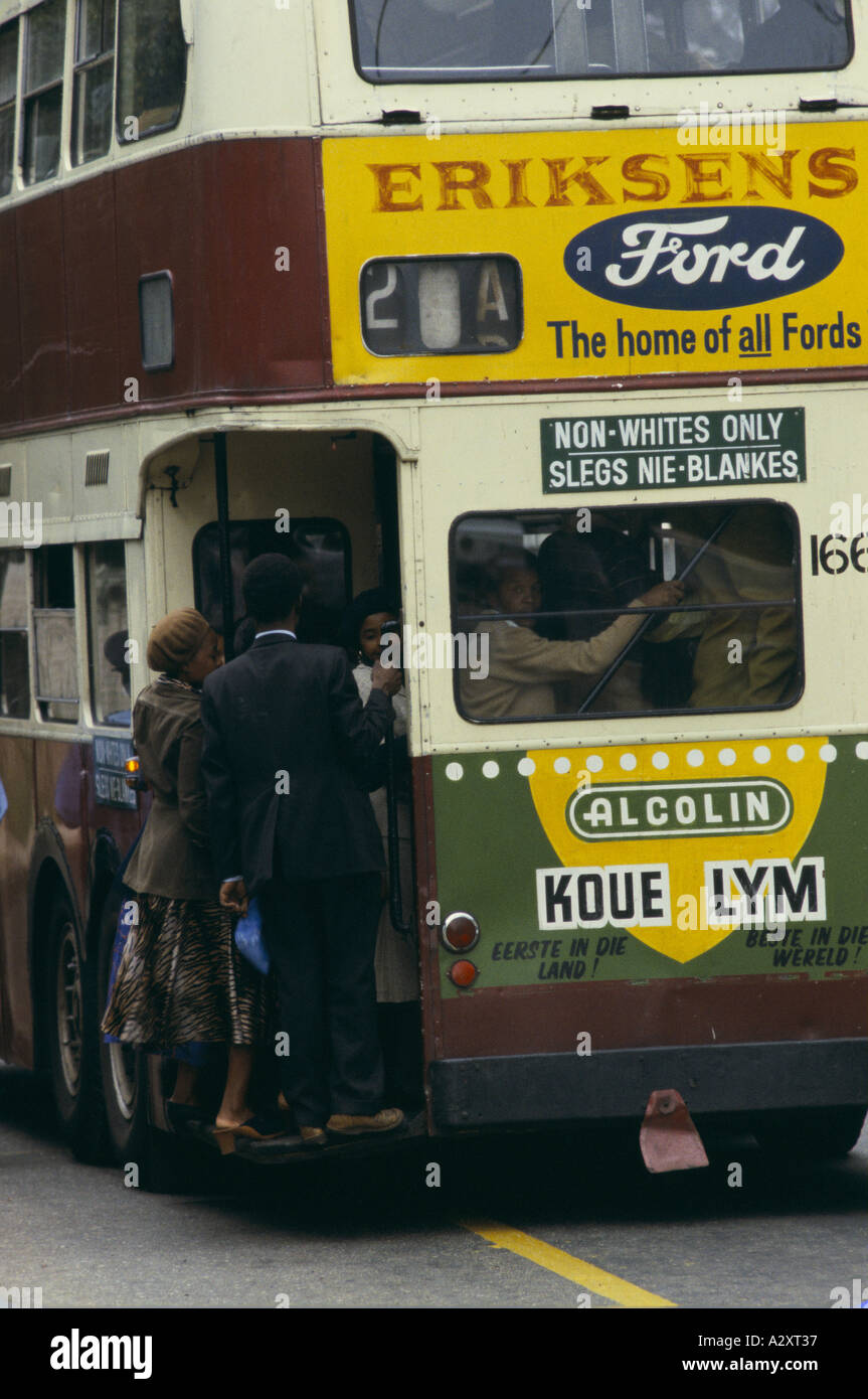 Non Whites only, Apartheid in South African, Black people boarding public transport in Johannesburg - Stock Image