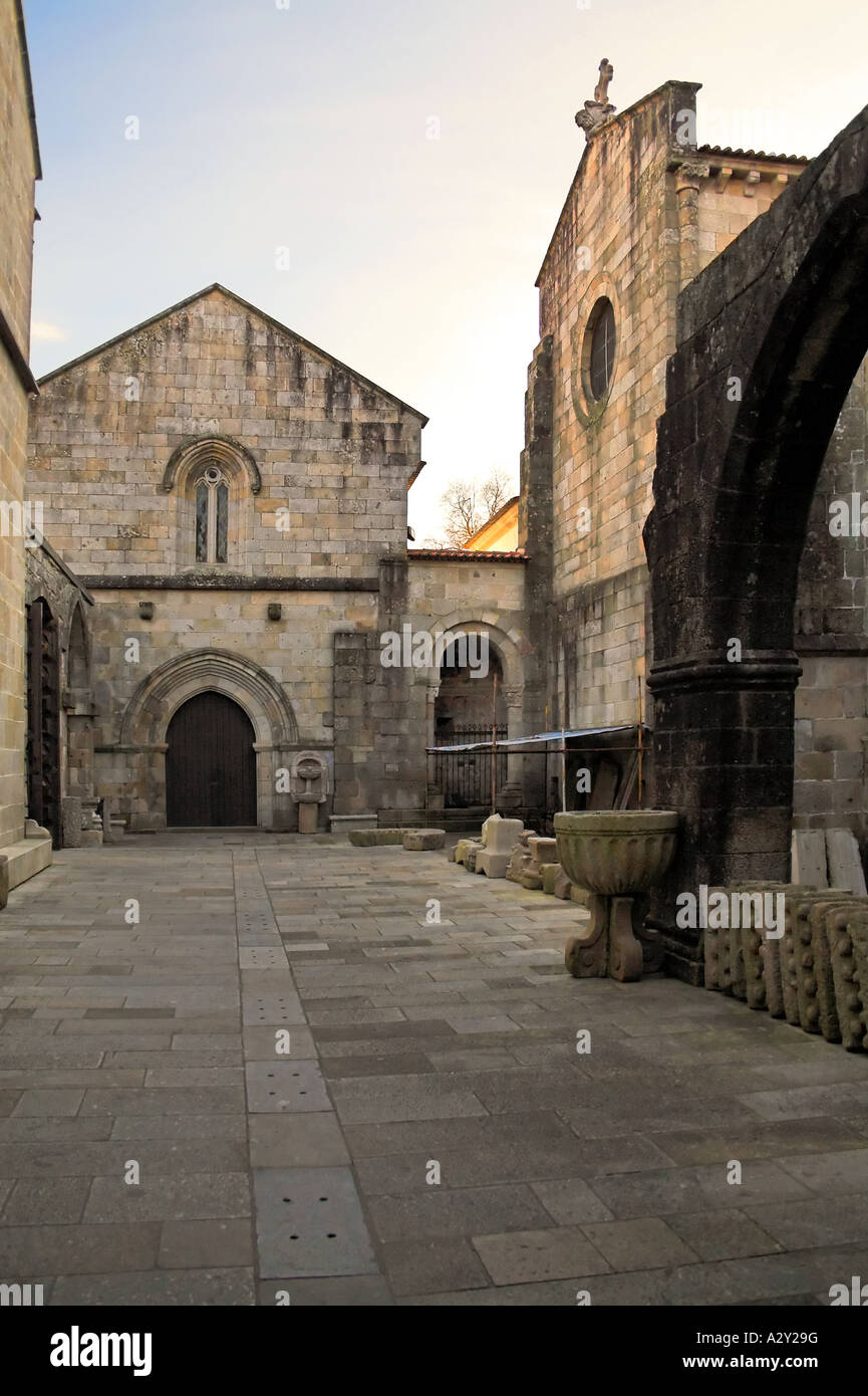 Braga's Cathedral, the most ancient of all cathedrals in Portugal. Interior courtyard. Stock Photo