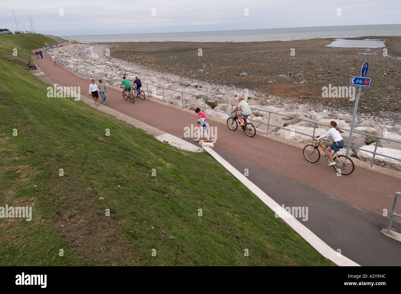 Cycling on Cycle Path Rhos on Sea Conwy North East Wales - Stock Image