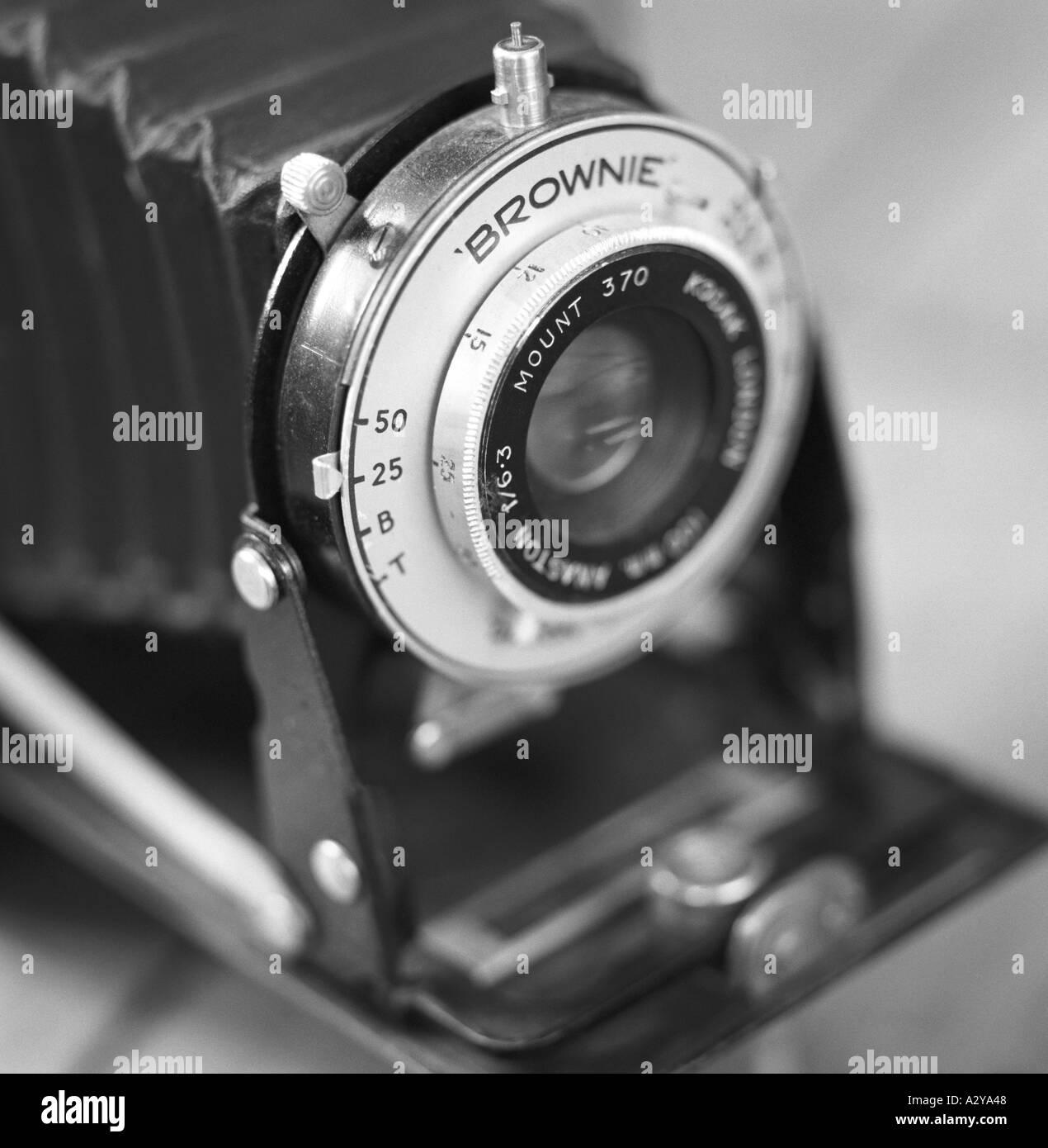 Six 20 Folding Kodak Brownie camera in black and white - Stock Image