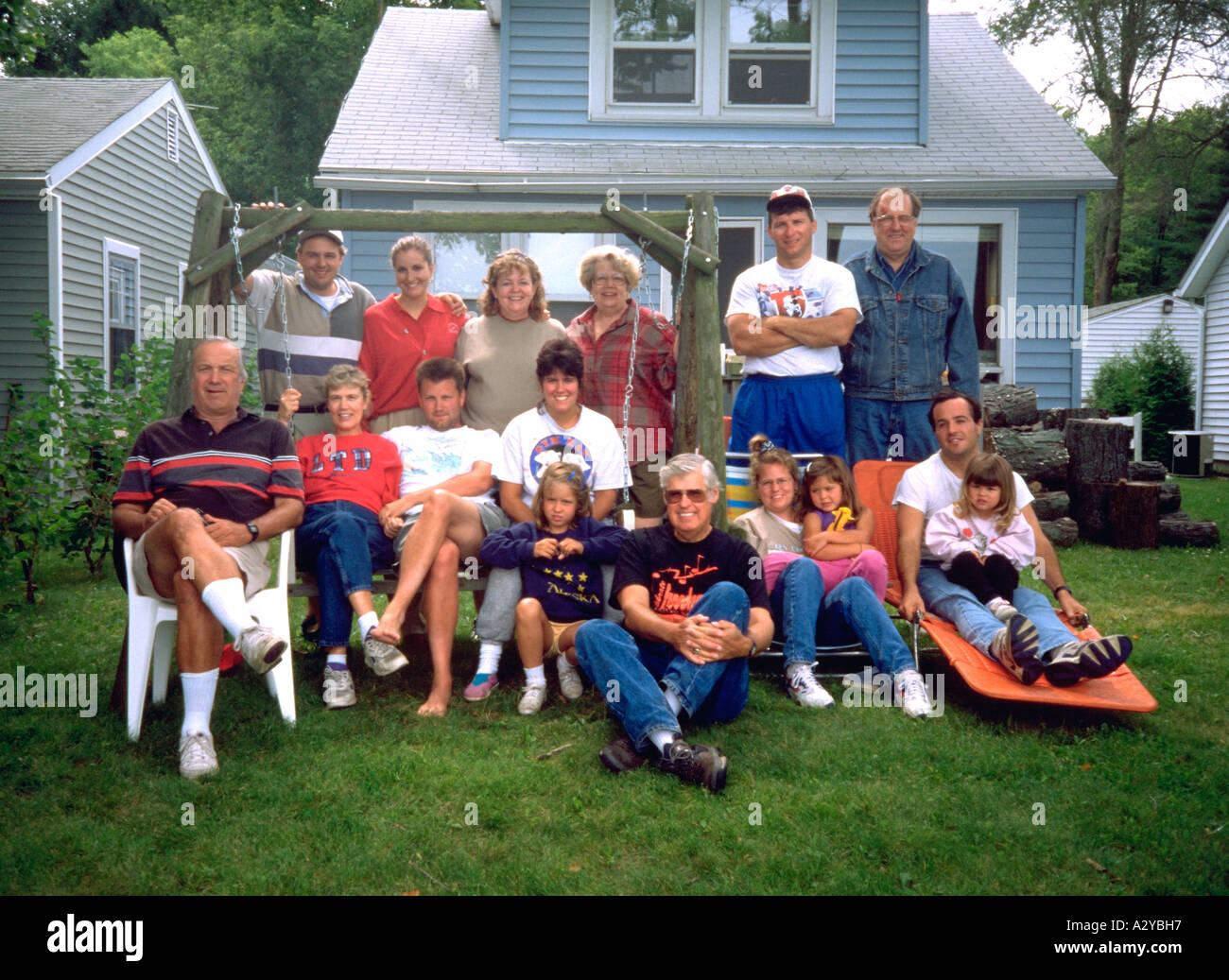 Extended family on vacation at Lake Kettle Moraine. Dundee Wisconsin USA - Stock Image