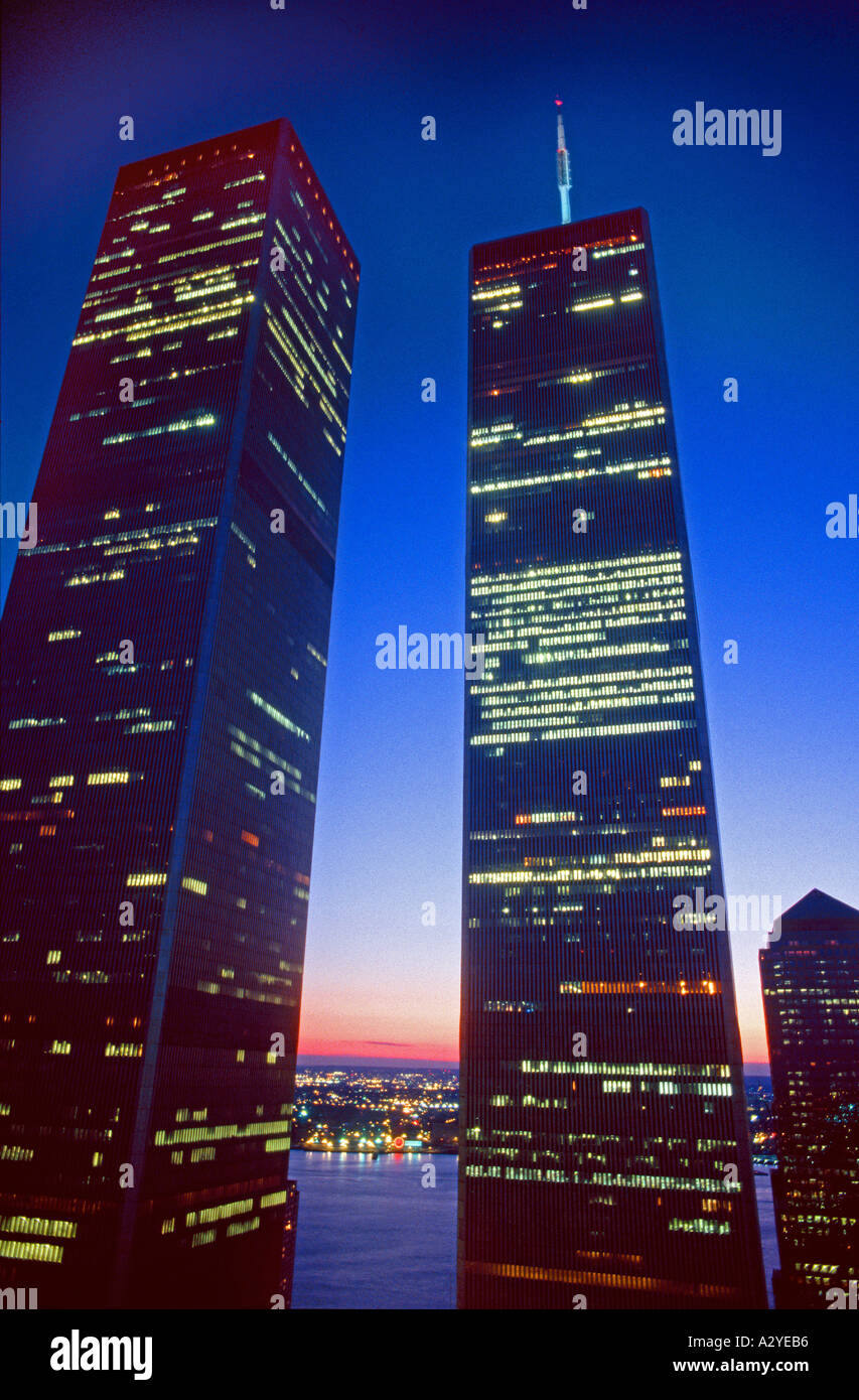 Twin towers World Trade Center New York City New York USA taken from the Millenium Hotel at sunset - Stock Image