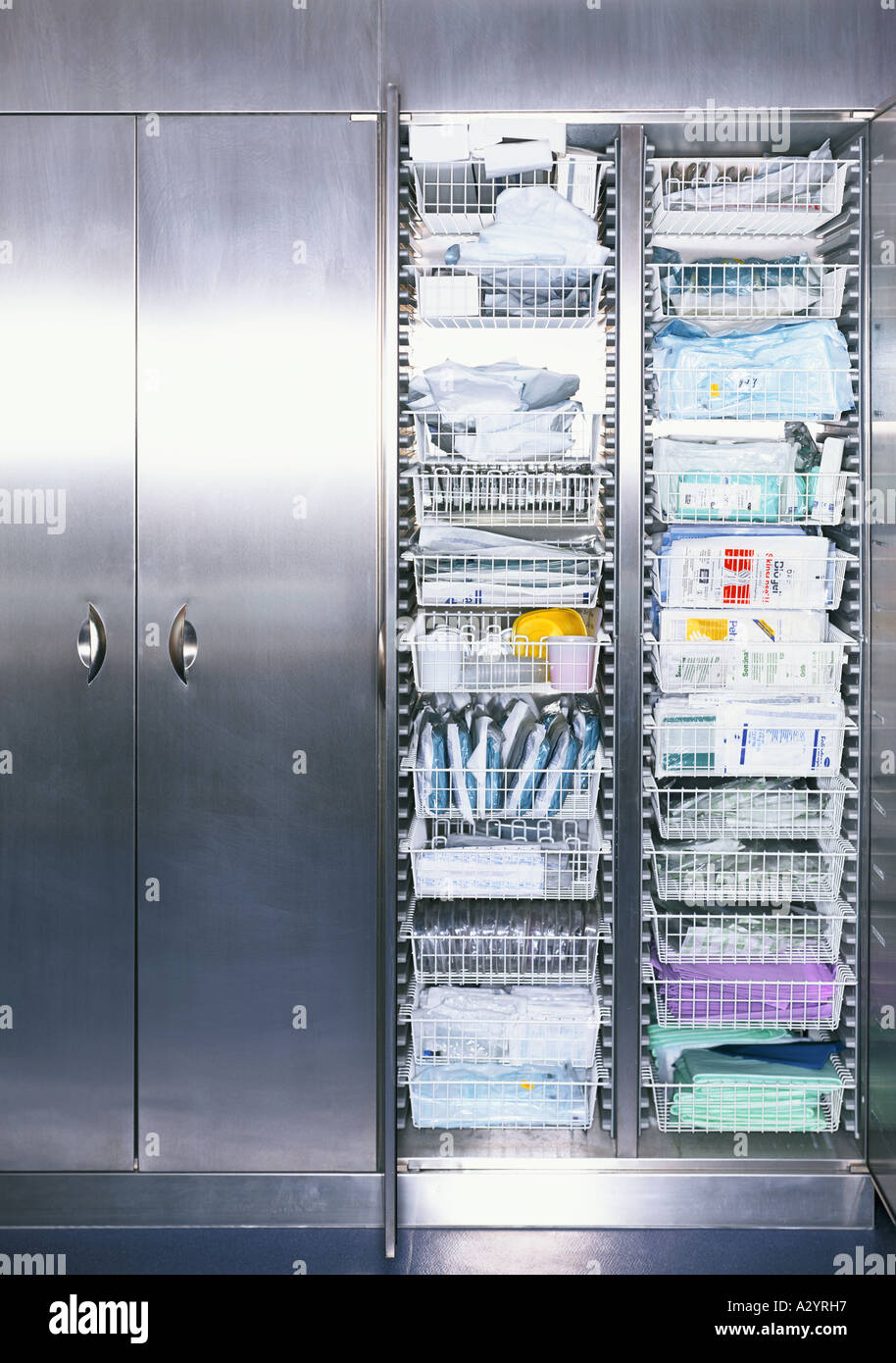 Medical supplies in cabinet - Stock Image
