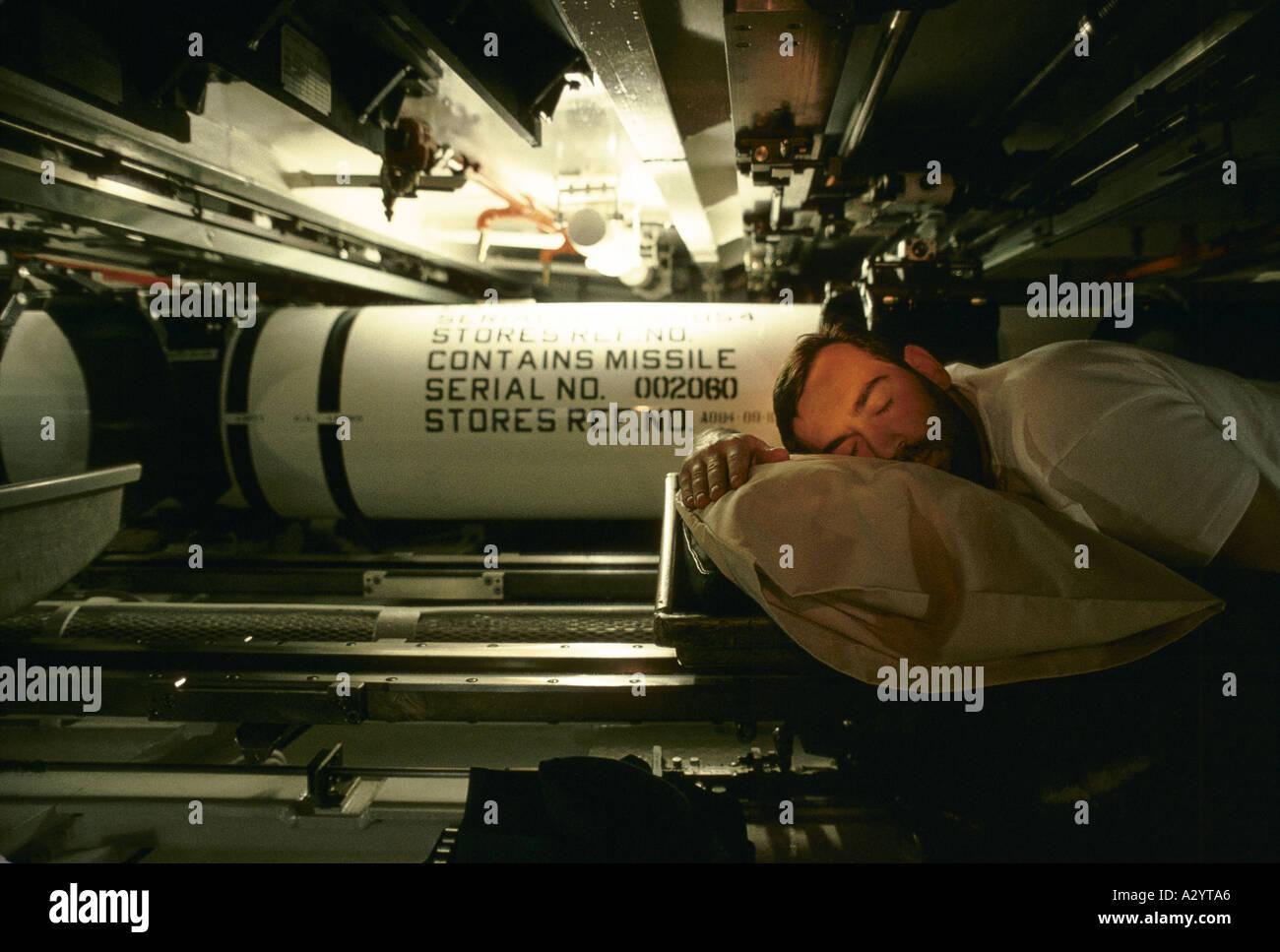 crew sleeping in the torpedo tube of a submarine Stock Photo - Alamy