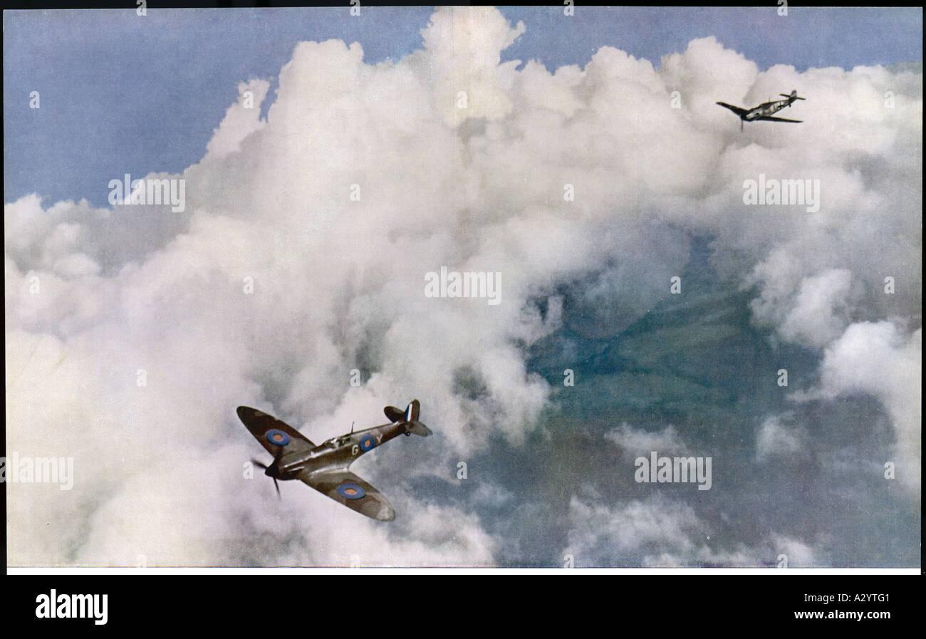 Me 109 Versus Spitfire - Stock Image