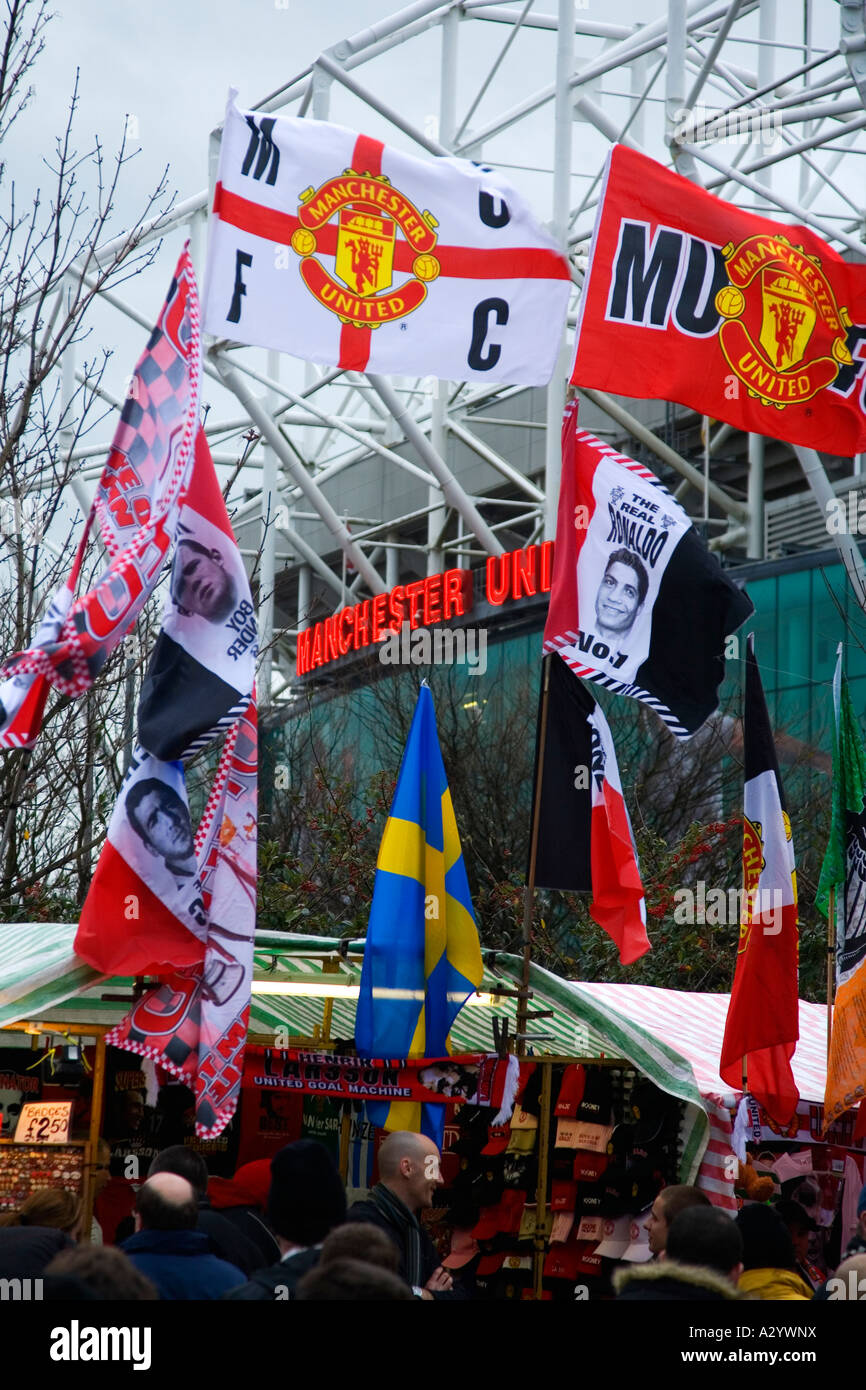 Stalls selling flags and memorabilia at Old Trafford Soccer Stadium Manchester United Football Club home ground - Stock Image
