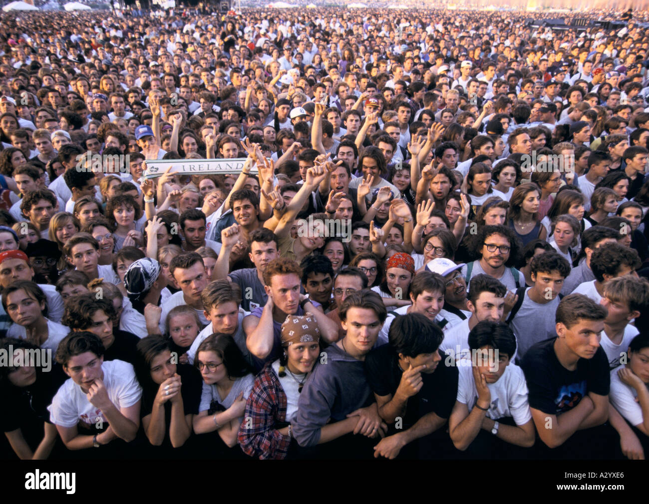 A crowd of fans at a U2 concert in Paris - Stock Image