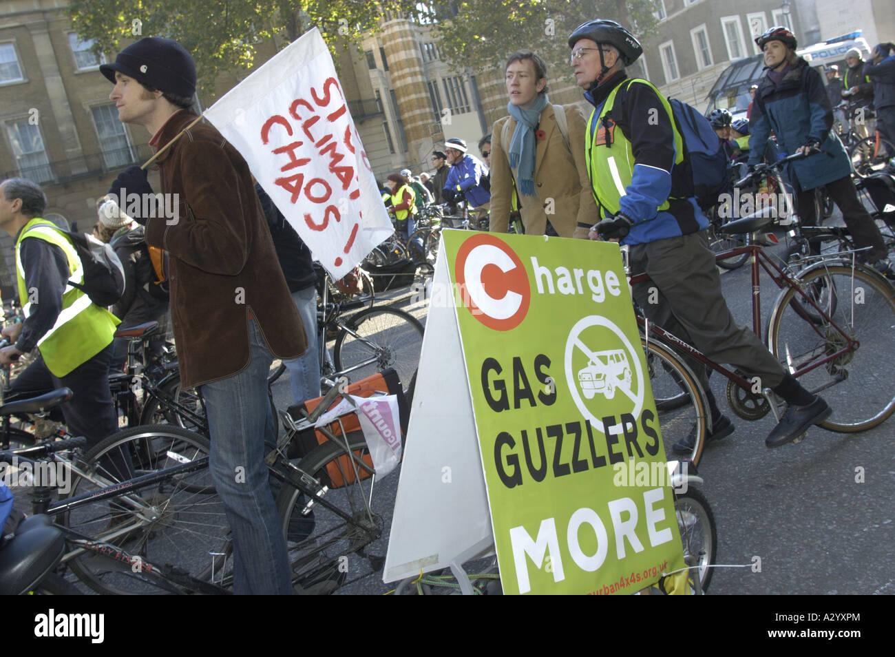 Cyclists demo outside downing St on their way to Trafalgar Sq Cliimate Change demo London Nov 4th 2006 - Stock Image
