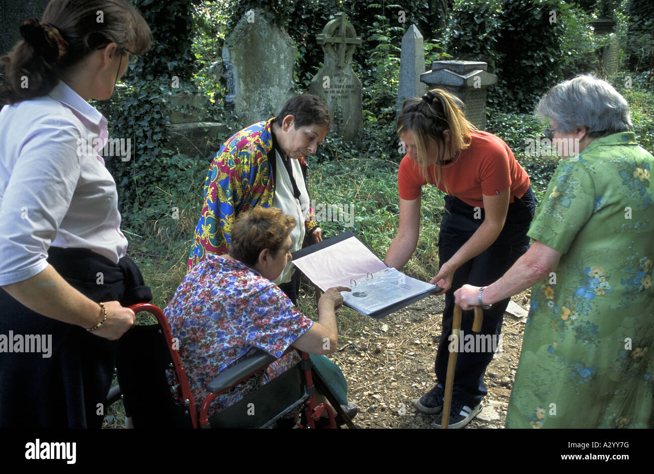 A jewish group on a history tour of Abney Park Local Nature Reserve Stoke Newington London England - Stock Image