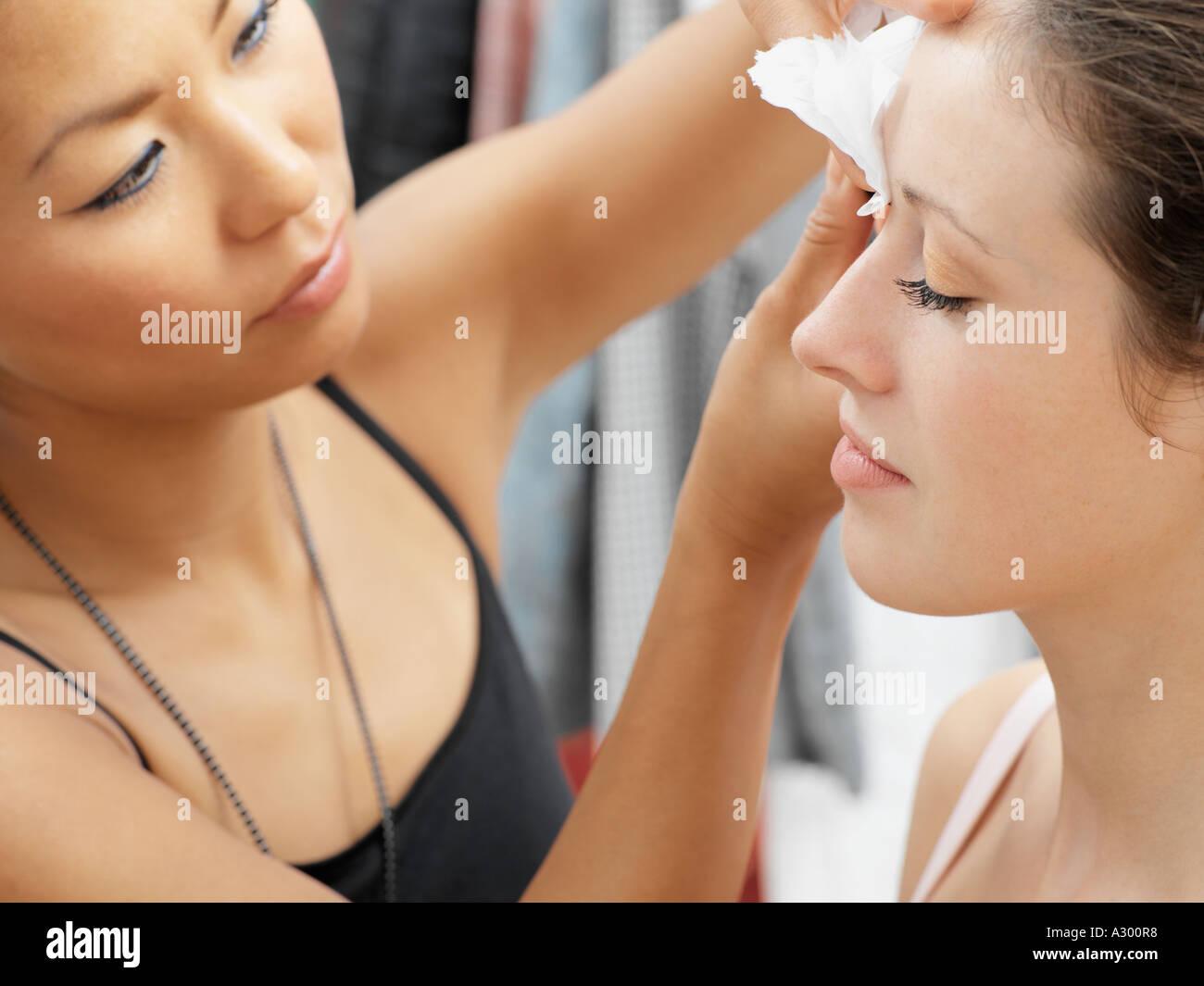 Model having her make-up done - Stock Image