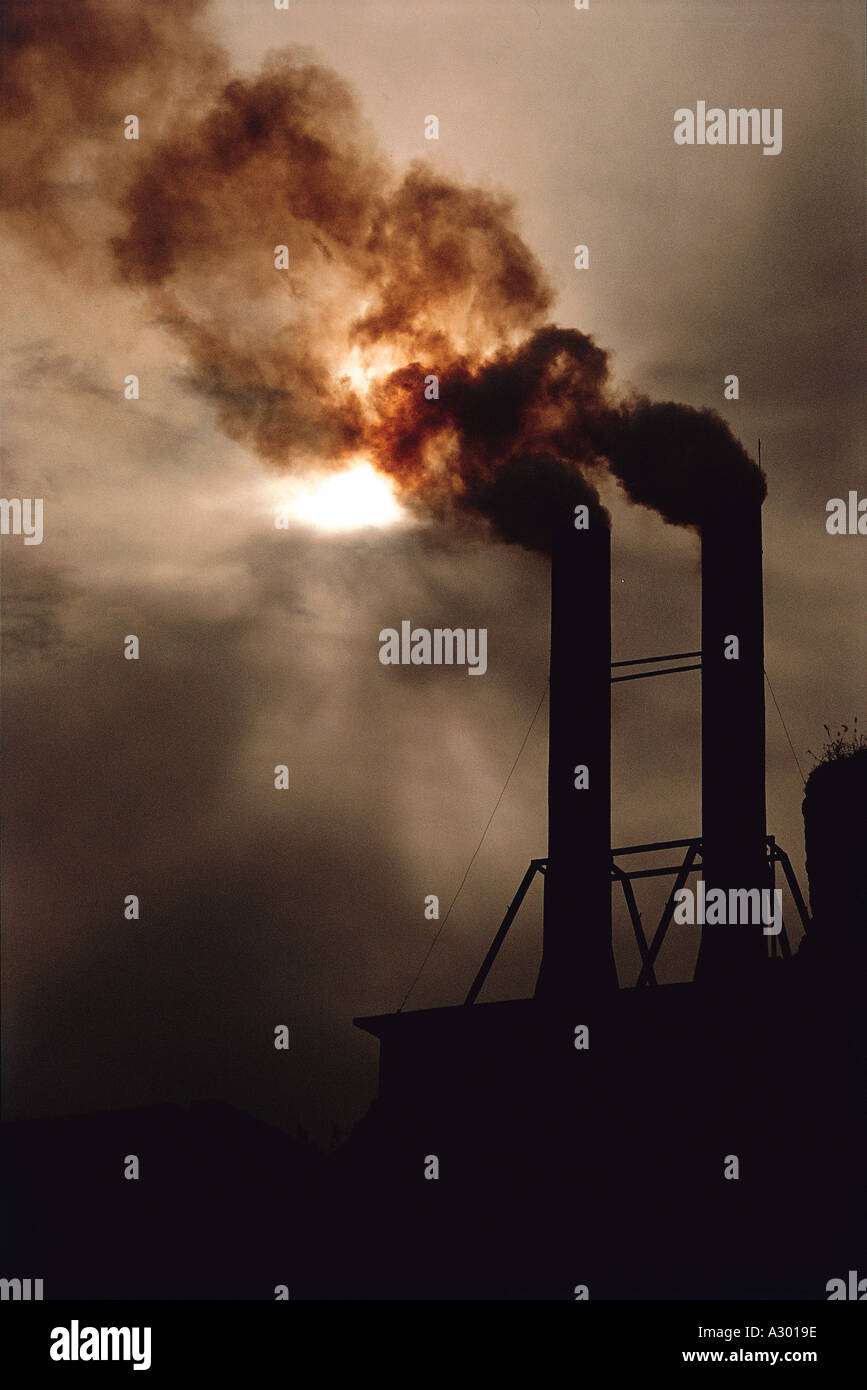 smoking pollution - Stock Image