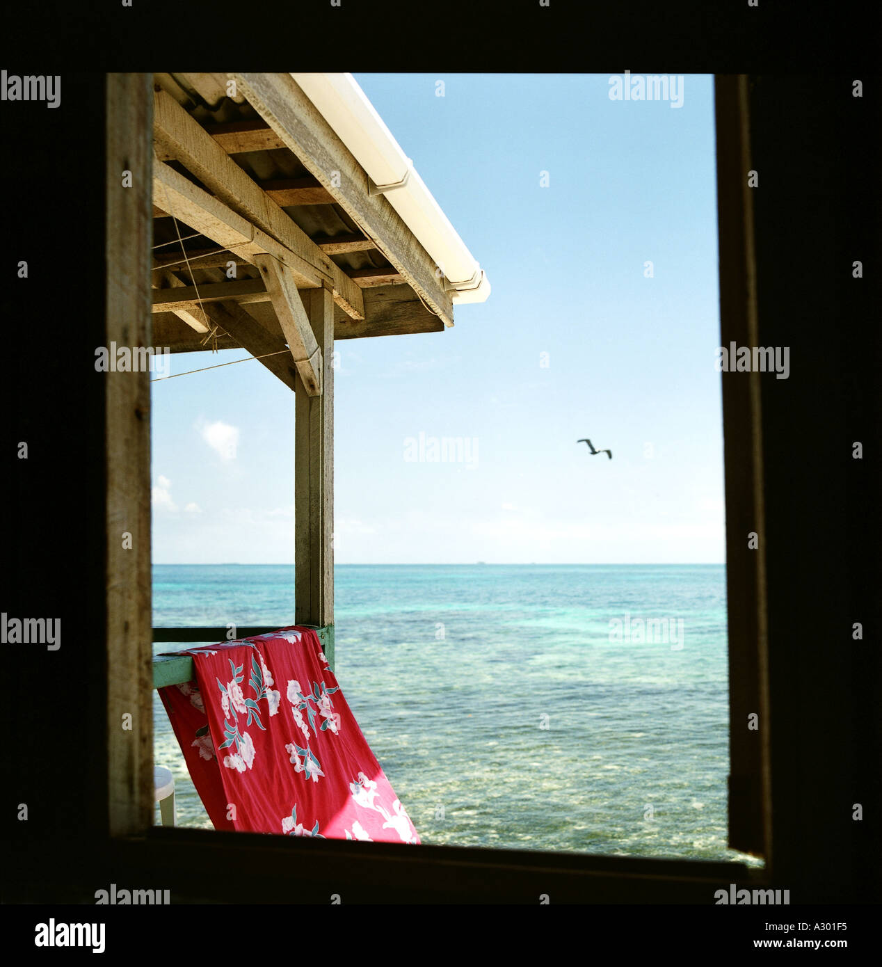 View from cabin onto the Caribbean sea - Stock Image