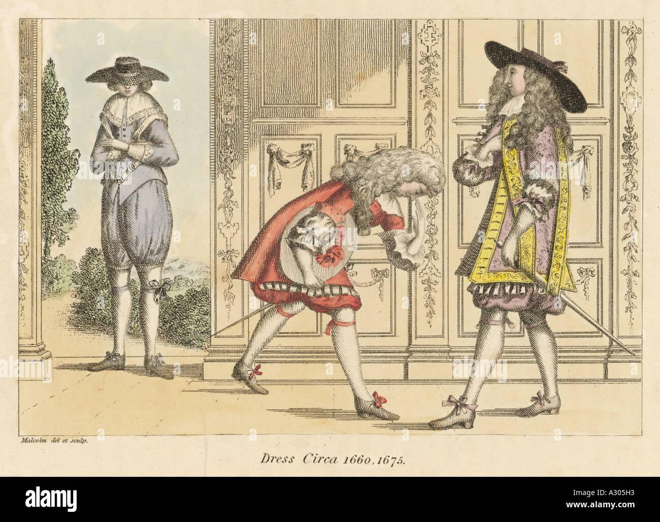 Costume Men 1660s Stock Photo