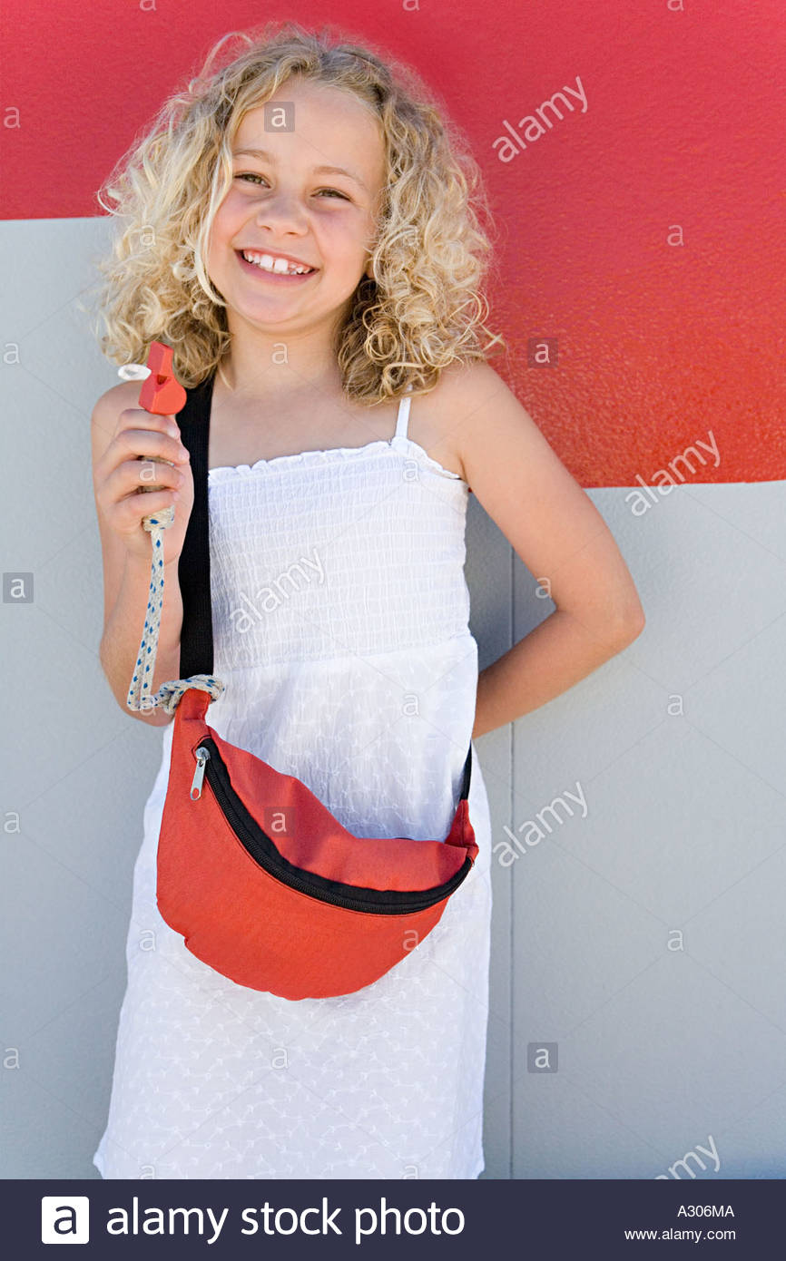 Girl with first aid kit - Stock Image