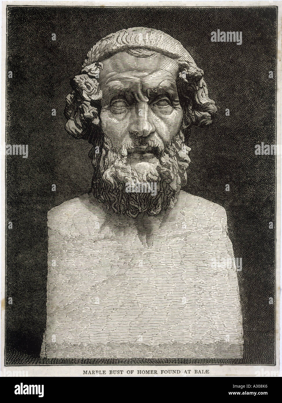 Homer Bust Baiae - Stock Image