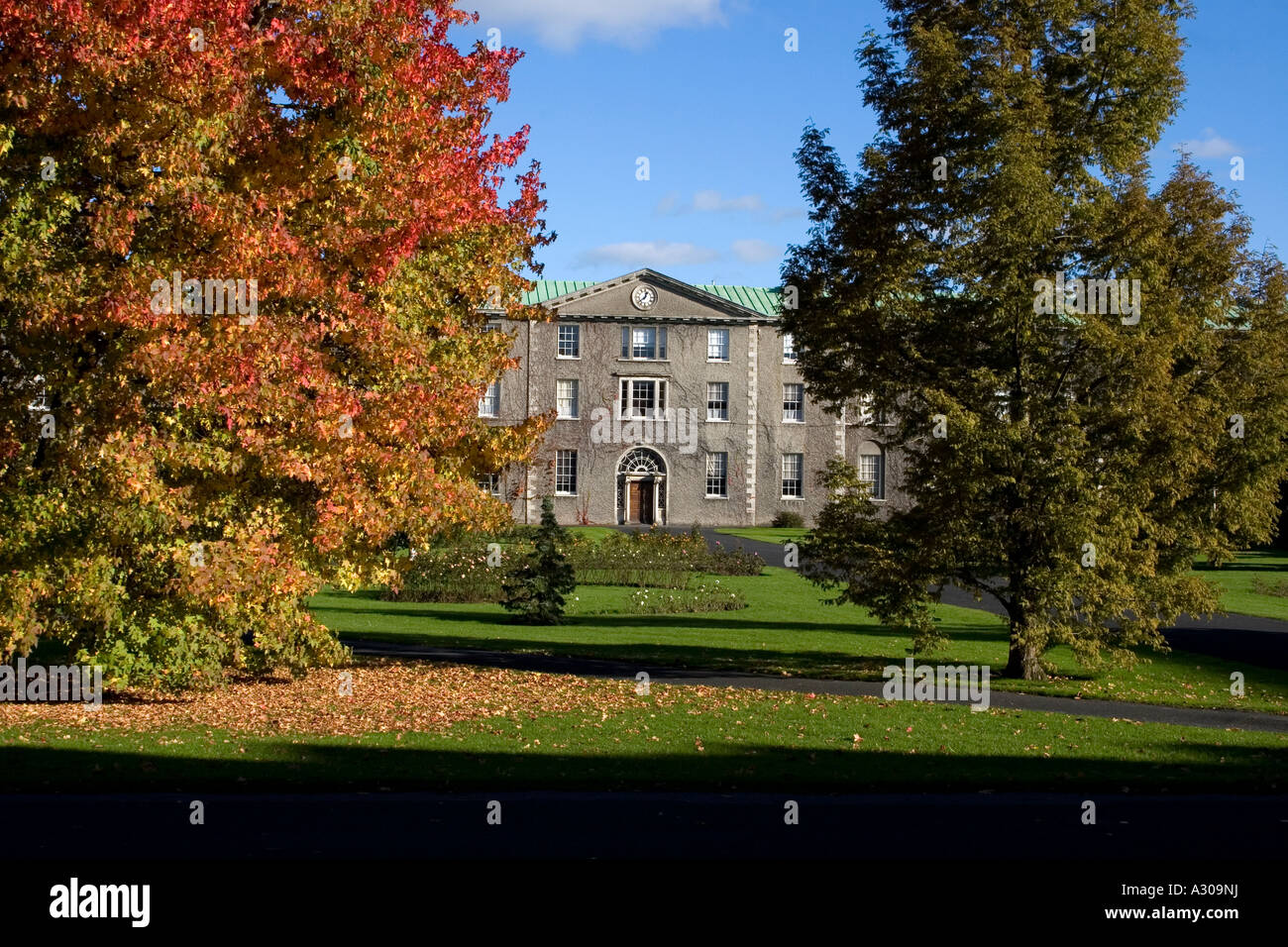 Exterior of maynooth college seen through trees - Stock Image