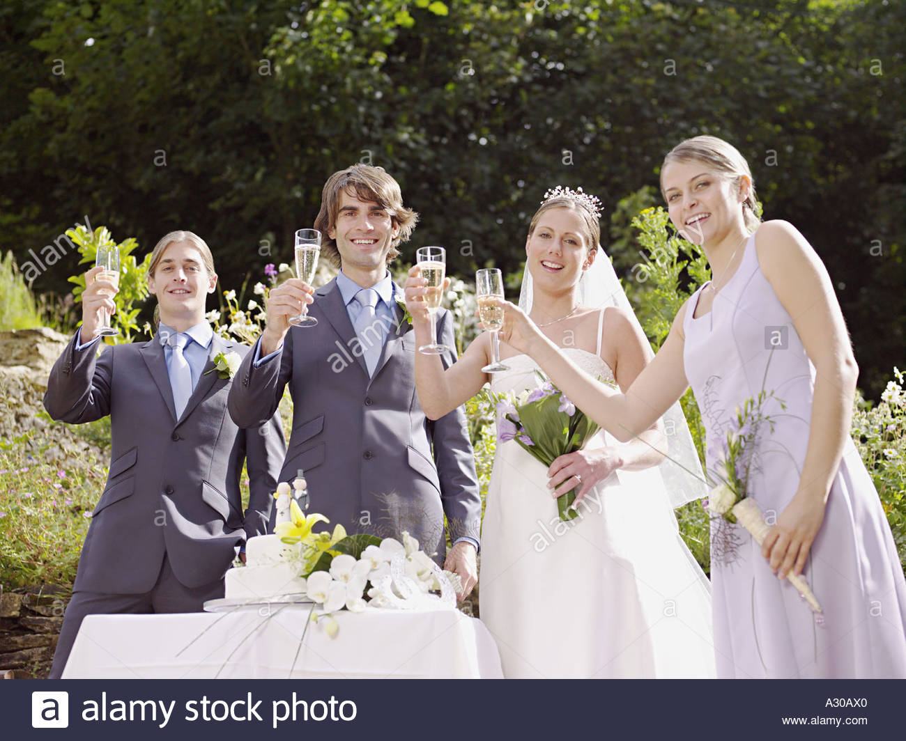 Bride and groom toasting with guests - Stock Image
