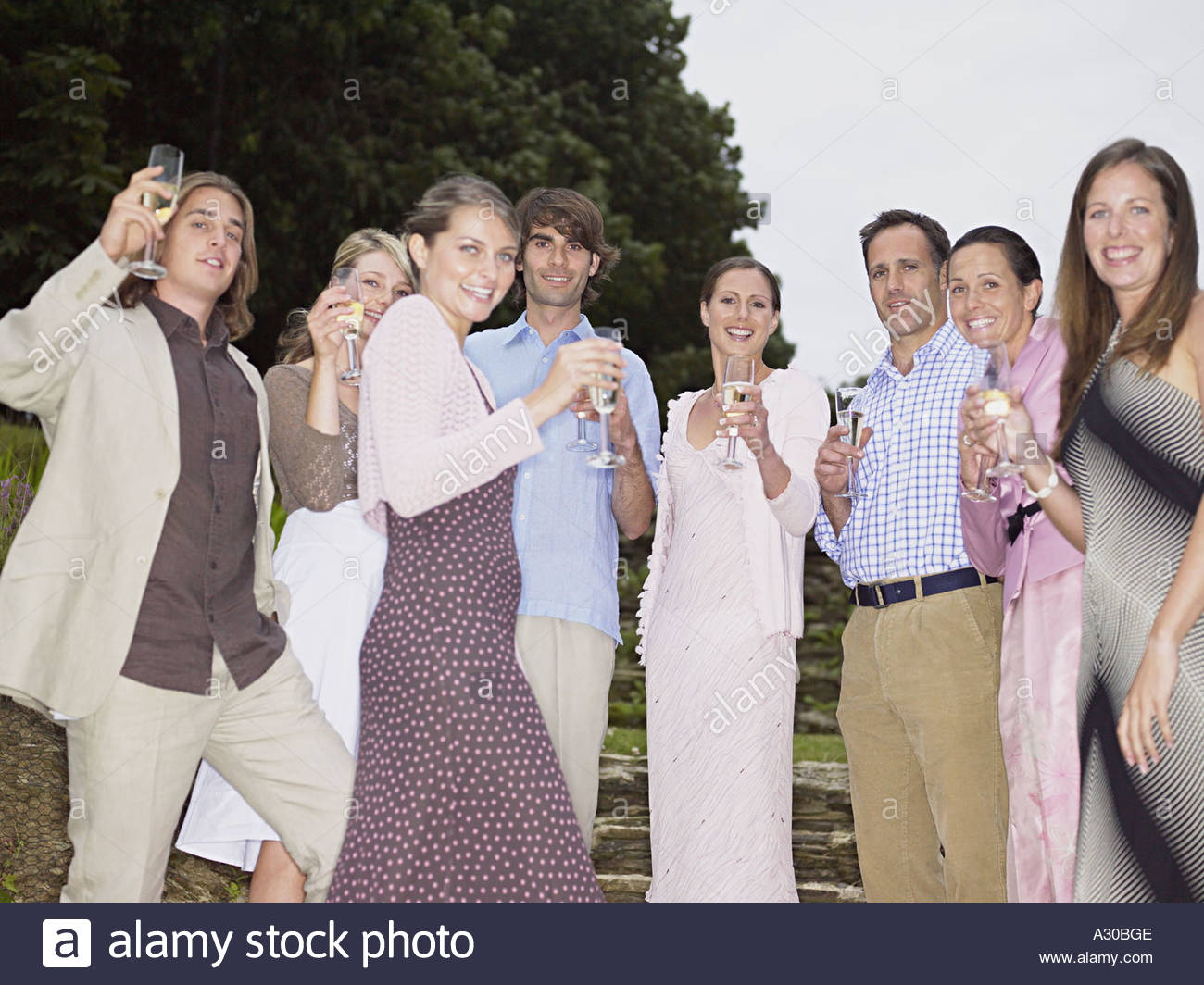 Wedding guests toasting with champagne - Stock Image