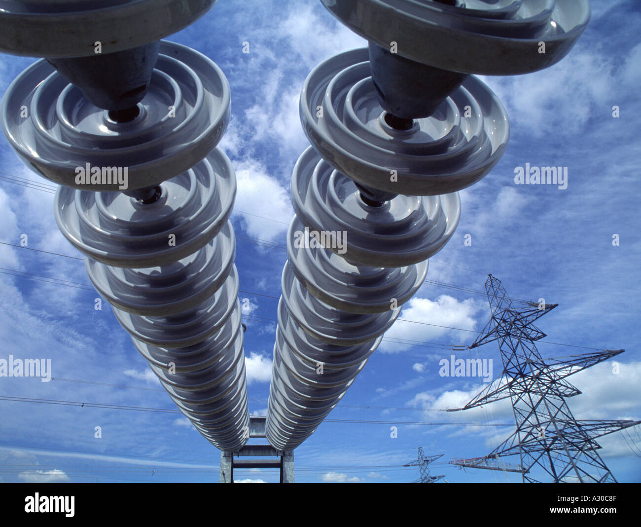 Electricity Insulators on power line on electricity grid - Stock Image