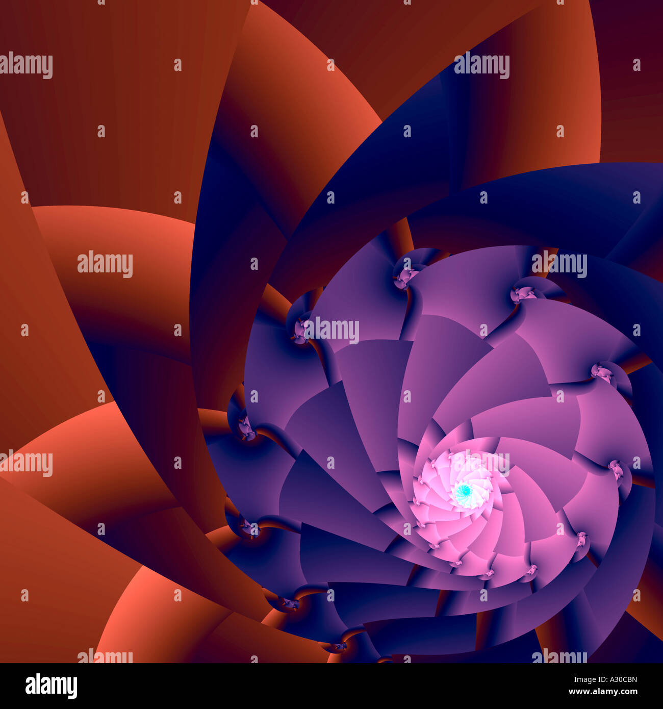 Computer generated fractal image architecture botanical complex eccentric diaphragm graphic illusion repeat - Stock Image