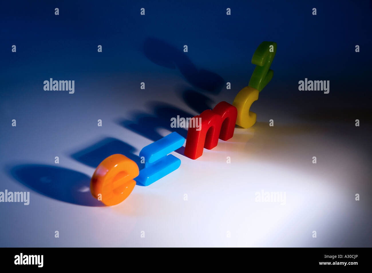 e mc2 theory of relativity formula spelt out with childrens fridge magnet letters and numbers - Stock Image