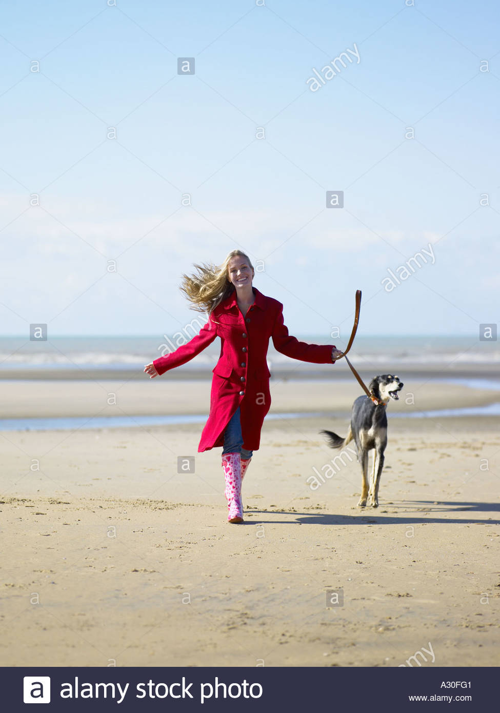 Woman walking dog on beach - Stock Image