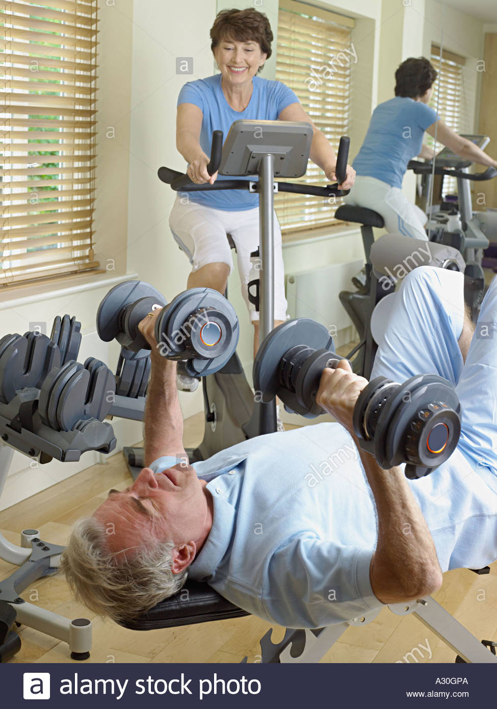 Mature couple working out Stock Photo