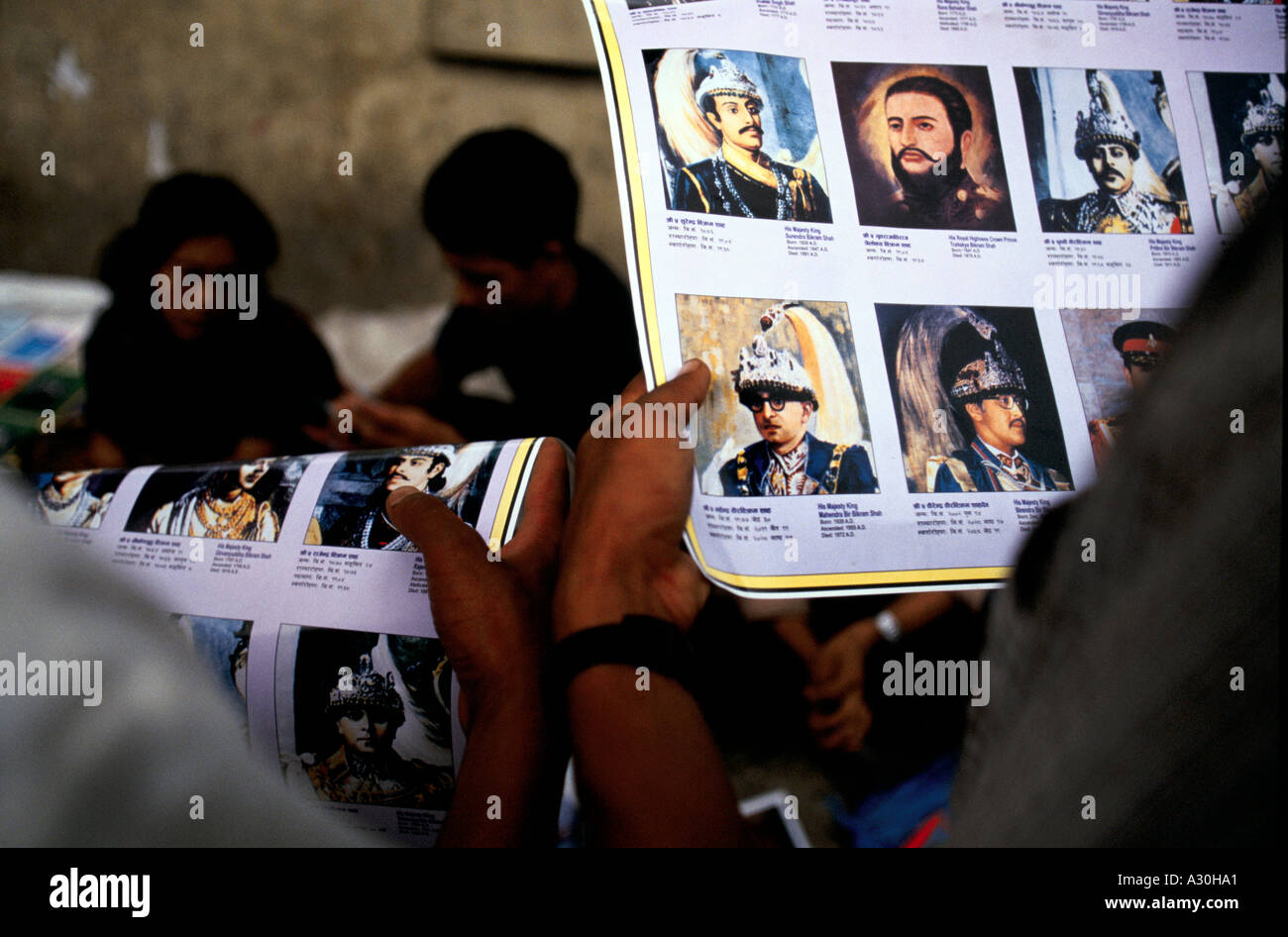 Souvenir pictures of the Nepalese royal family who were murdered by their son Dipendra Bir Bikram Shah Devin in Kathmandhu Nepal - Stock Image