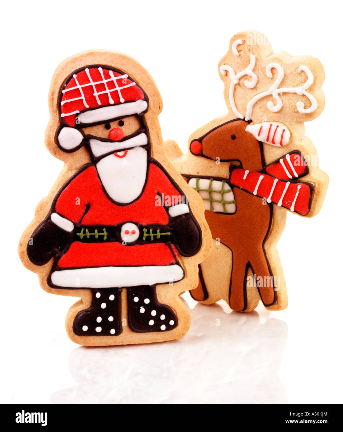 Christmas Santa And Reindeer Biscuits Cookies Cut Out Stock Photo