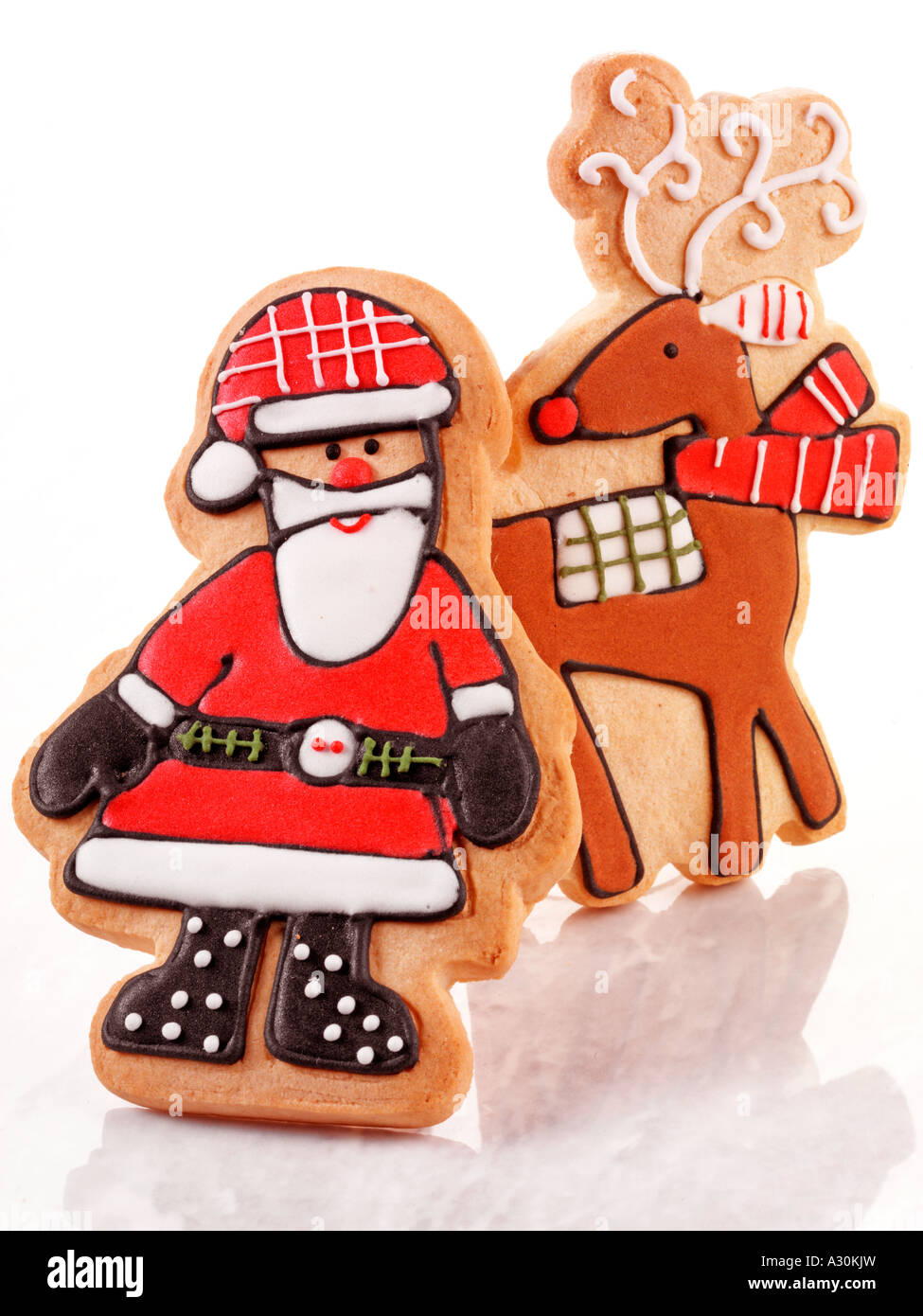 Christmas Santa And Reindeer Biscuits Cookies Stock Photo