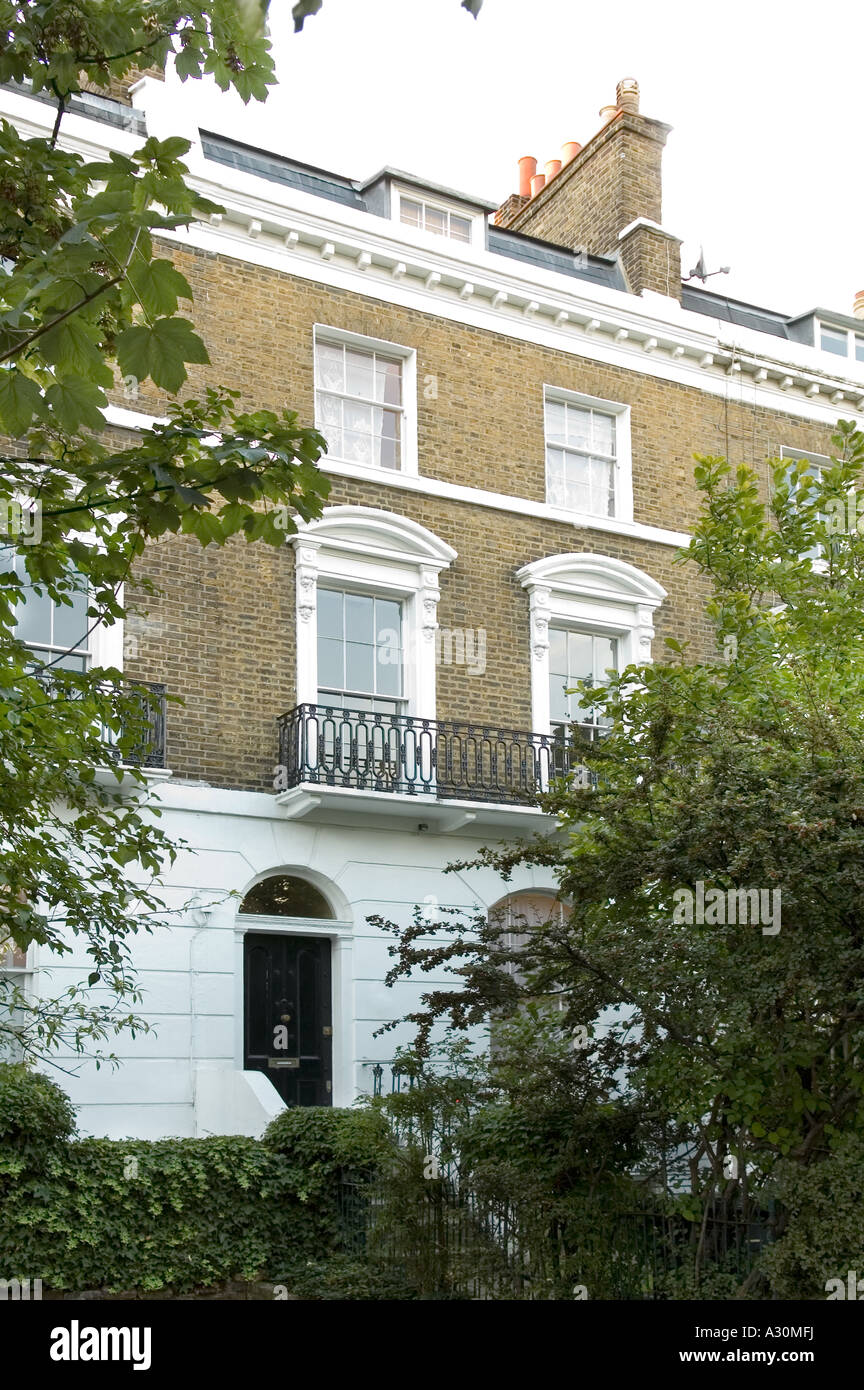 Exterior of a Georgian townhouse in London - Stock Image