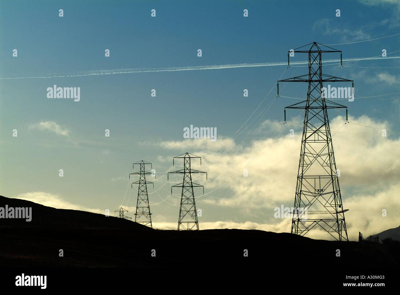 Electricity Pylons, A9 Corridor nr Dalwhinnie, Scottish Highlands, Scotland, UK - Stock Image