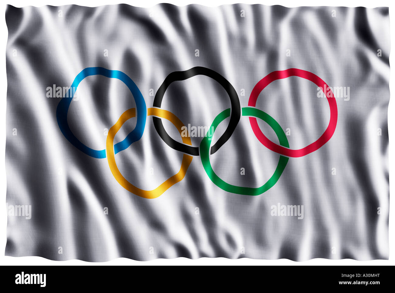 Olympic rings rippled flag - Stock Image