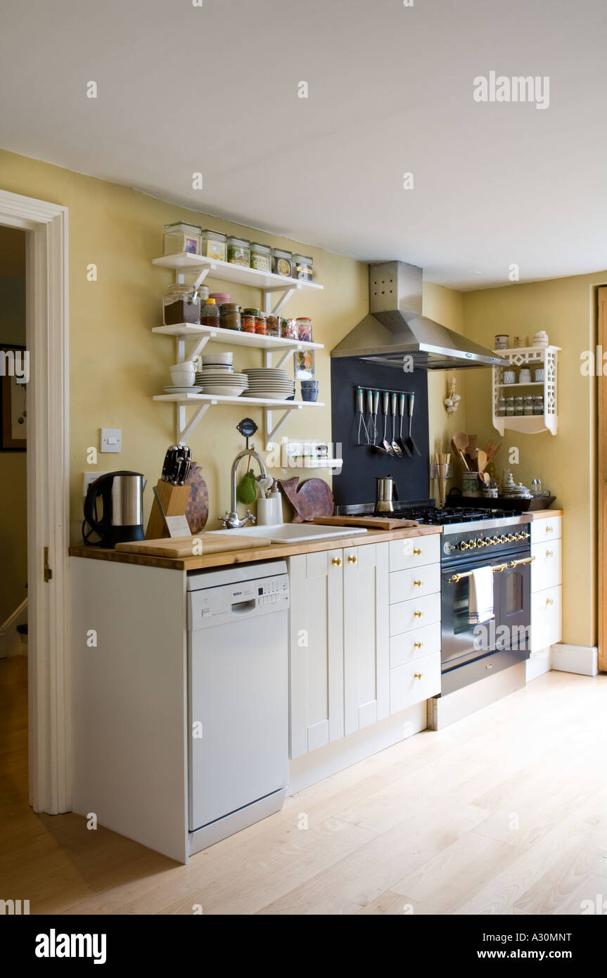 Kitchen of a Victorian house in London home to a jewellery designer - Stock Image