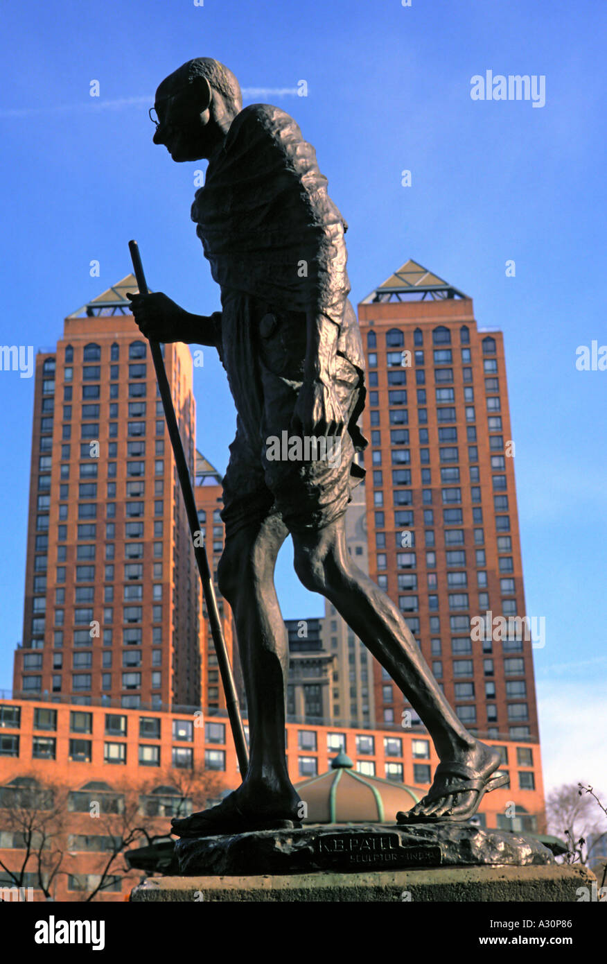 Statue of the Mahatma Gandhi by Indian sculptor K B Patel at Union Square in New York - Stock Image