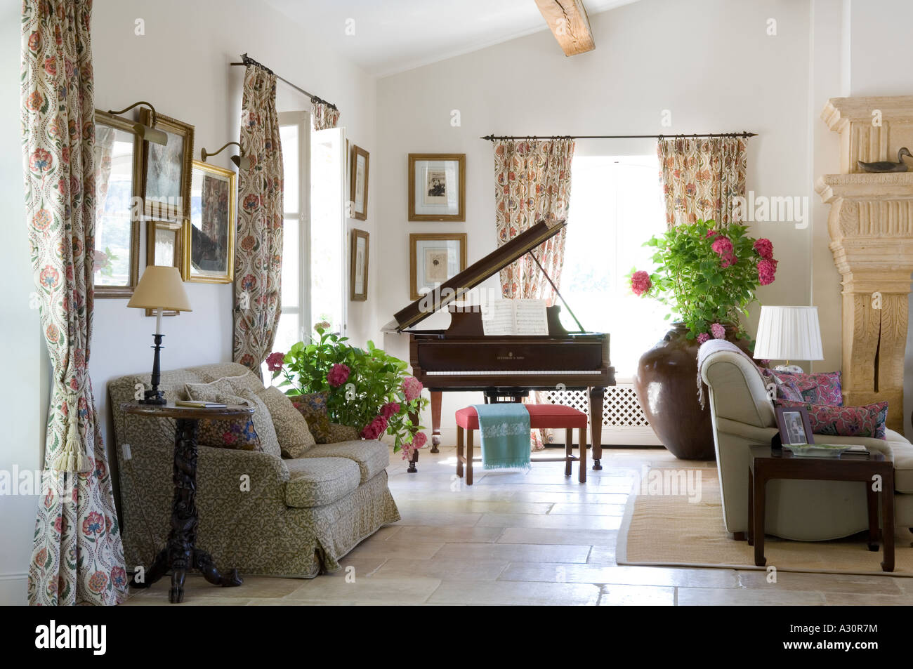 Grand Piano In Living Room With Sofas