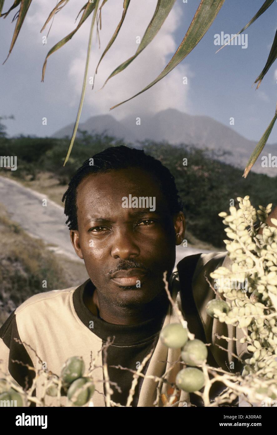 alphonsus cassell local of plymouth who is less convinced about staying on monserrat whilst volcano is rumbling 1997 - Stock Image