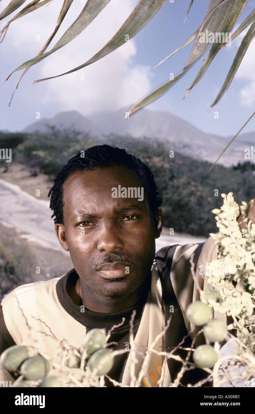 volcano over montserrat local soul calypso singer alphonsus cassell 1997 - Stock Image