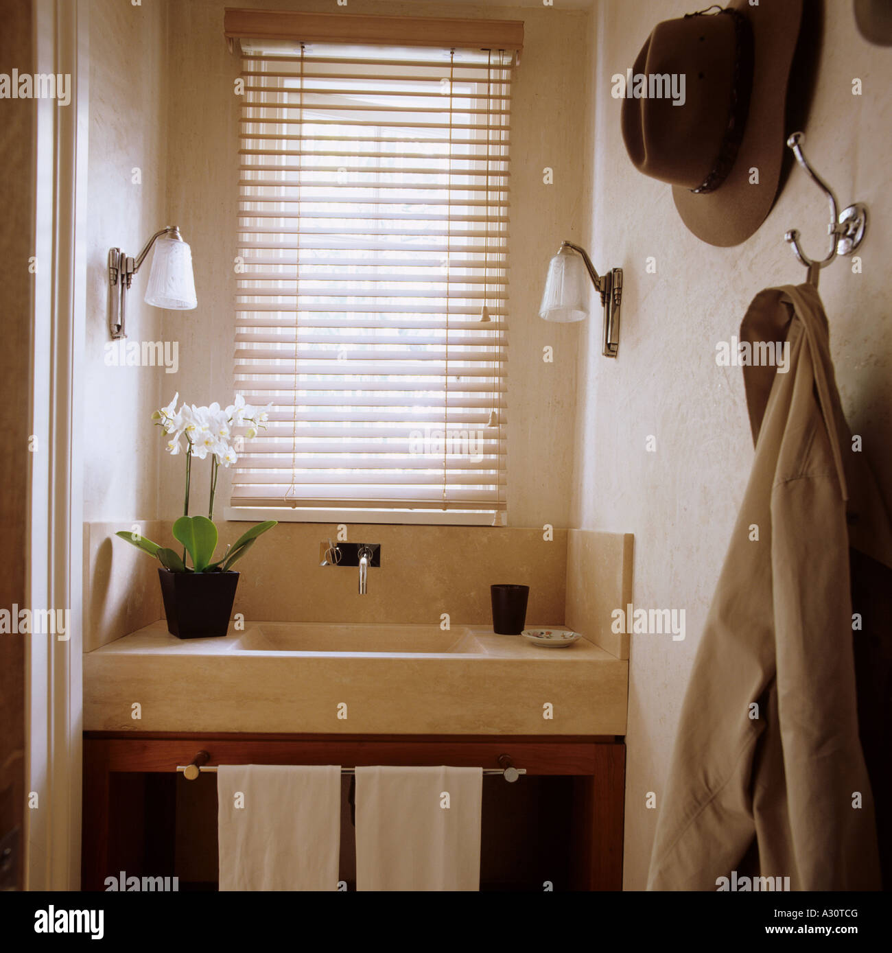 view of limestone hand basin in a cloakroom of a contemporary interior in London - Stock Image