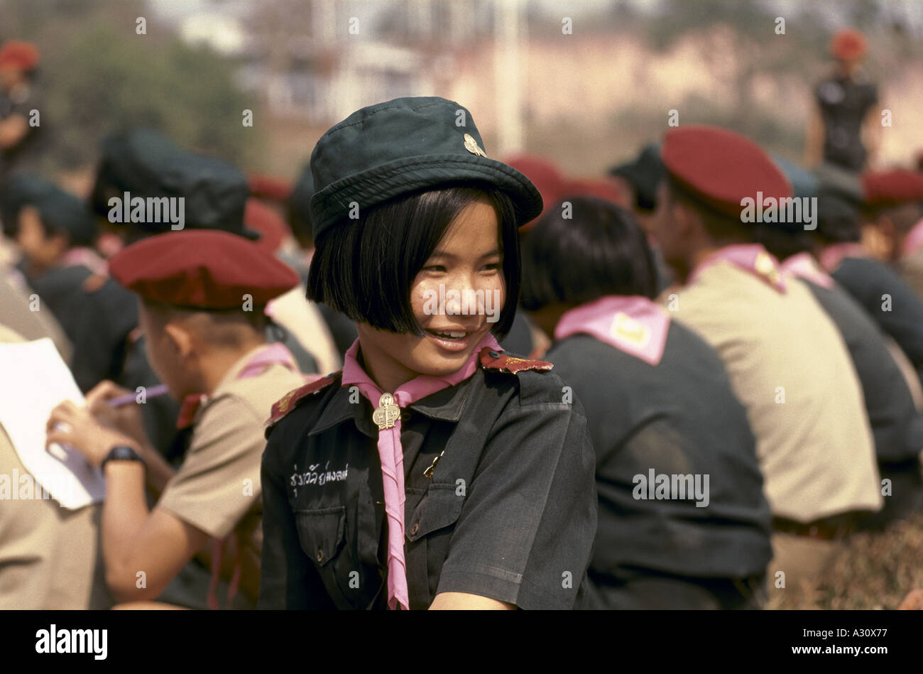 Girl guide in a scout and guide camp in Chiang Rai, Thailand - Stock Image