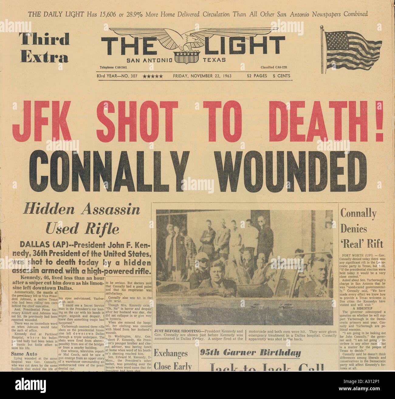 Jfk Assassinated Paper - Stock Image