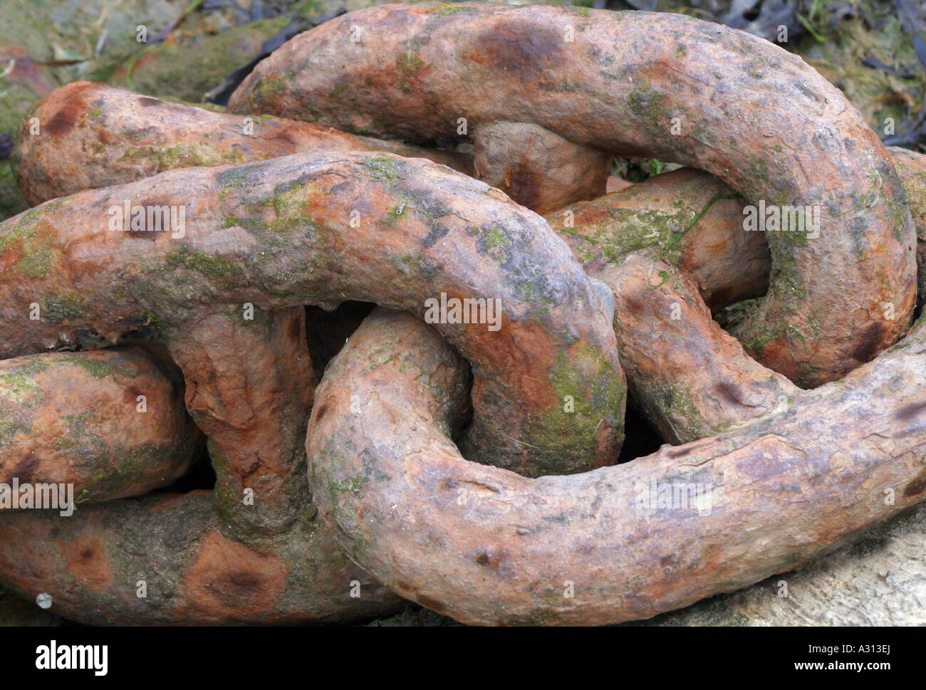 Heavy rusty chain links - Stock Image